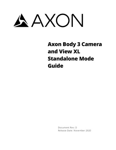 Axon Body 3 Setup, User Manual, Maintenance, Troubleshooting